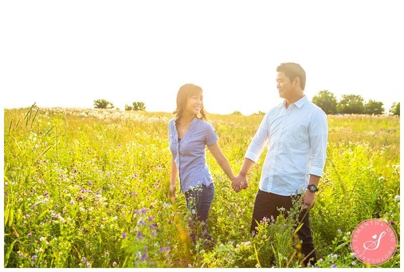 Summer Sunset Engagement Photos in the Fields: Takako & Jerriet