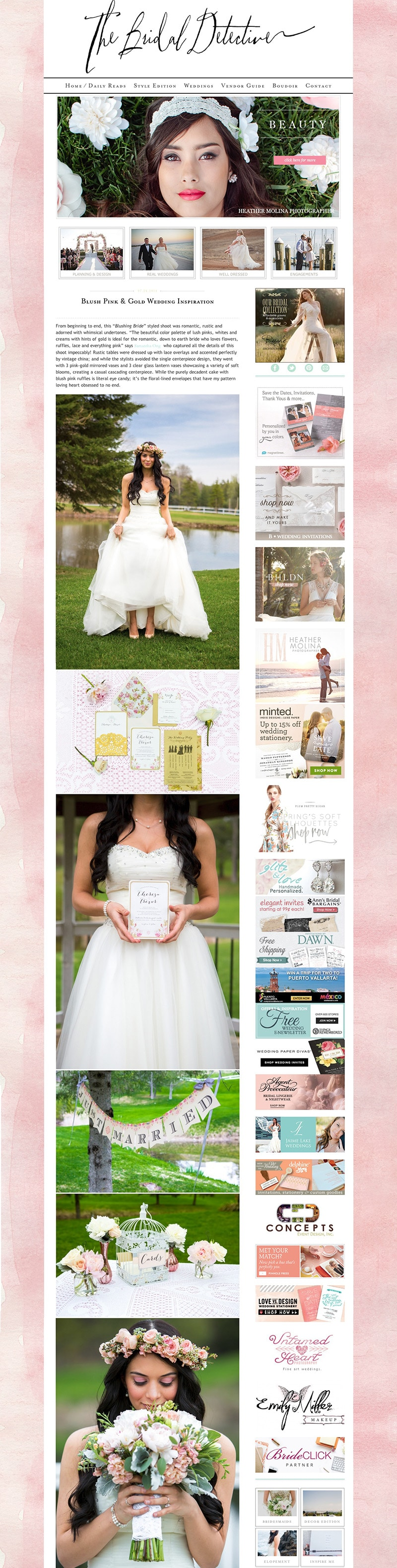 Published on The Bridal Detective - Blush Pink & Gold Wedding by Samantha Ong Photography