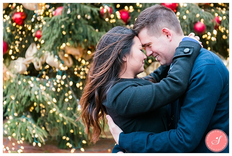 Toronto Distillery District Christmas Market Engagement Photos: Esther + Nick