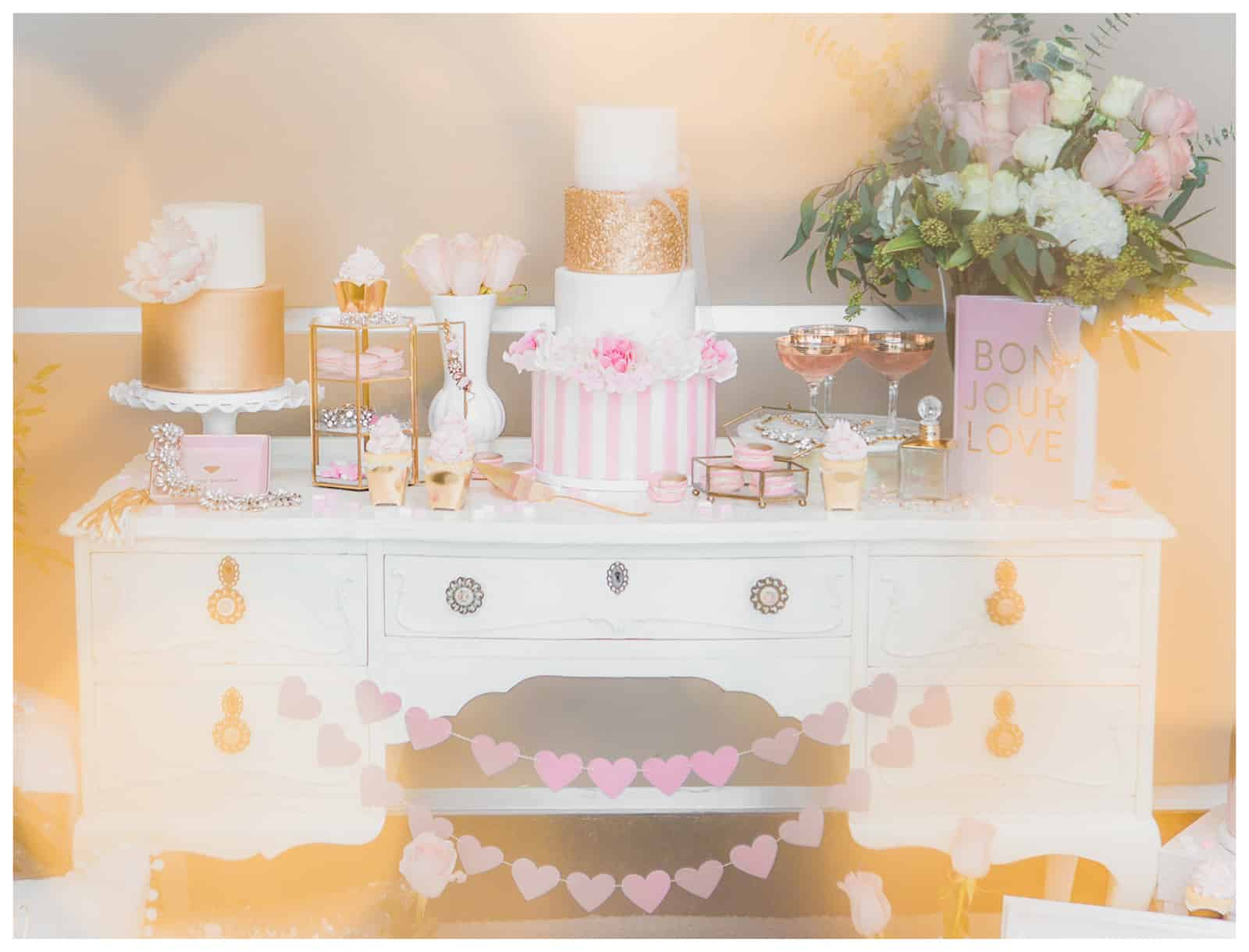 Valentine's Pink & Gold Dessert Table Photos