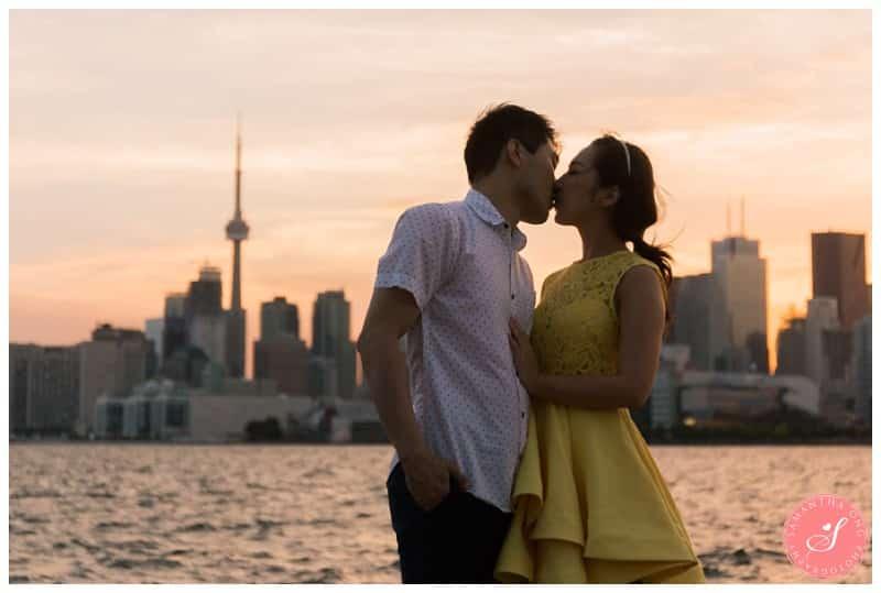 Toronto-Whimsical-Engagement-Photos-Polson-Pier-CN-Tower-Sunset