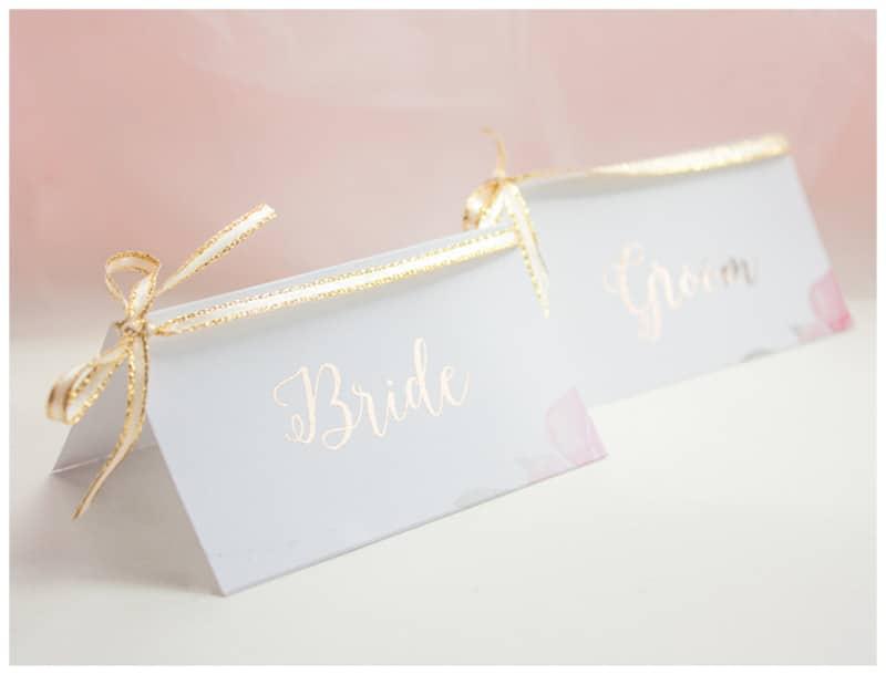 Easy DIY Gold Foil Floral Wedding Placecards