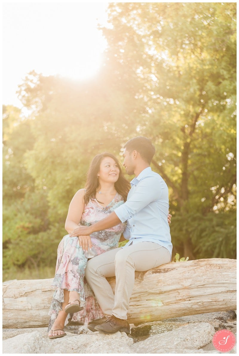Toronto Humber Bay Whimsical Beach Engagement Photos