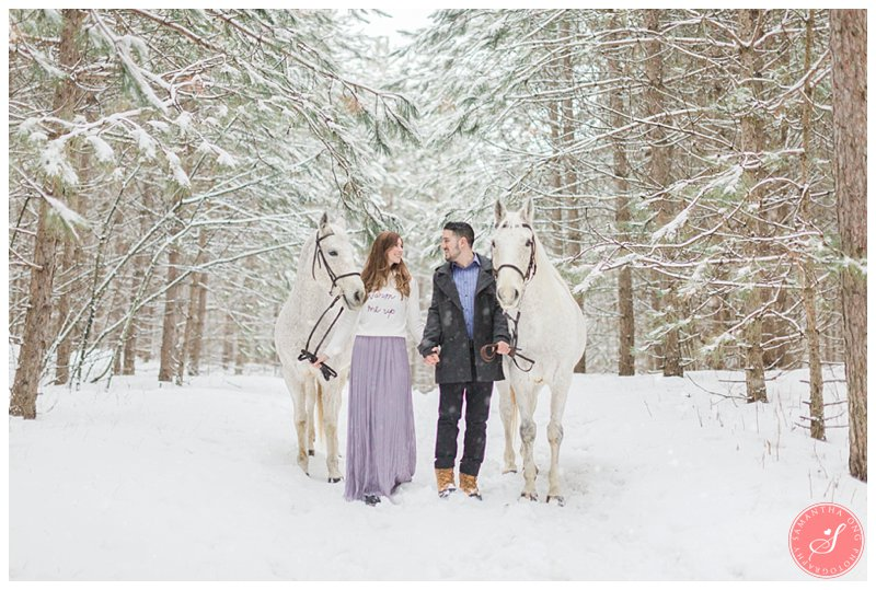 Toronto Snow Winter Engagement Photos Fairytale Horse Forest