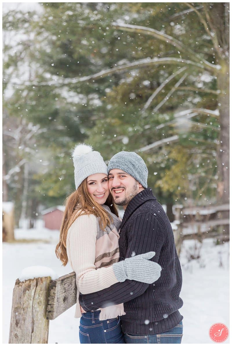 toronto snow winter engagement photos fairytale horse forest