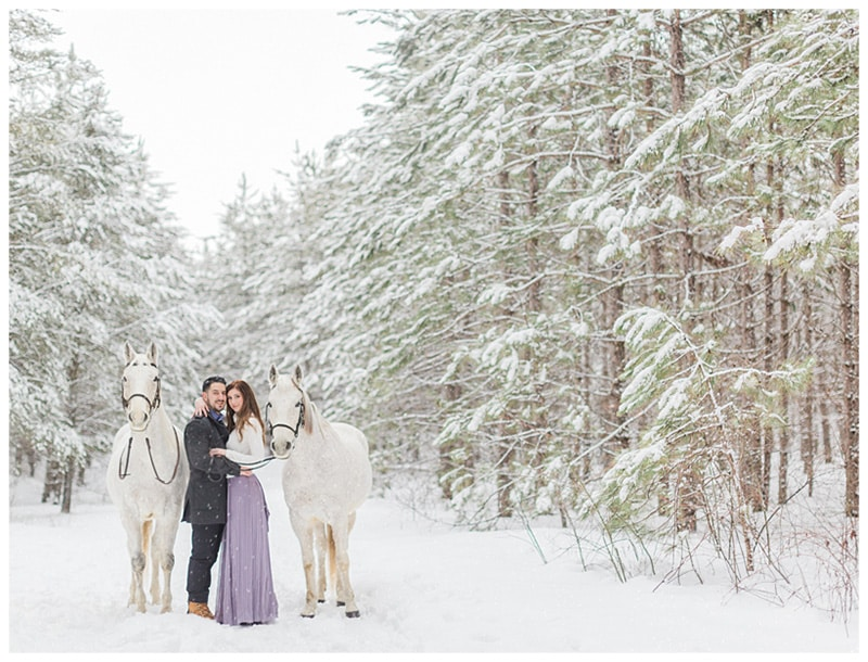 A Snowy Fairytale Winter Engagement Session: Leanne + Joshua