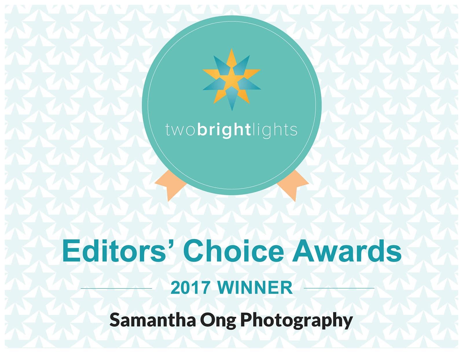 Samantha Ong Photography wins 2017 Two Bright Lights Editors' Choice Award