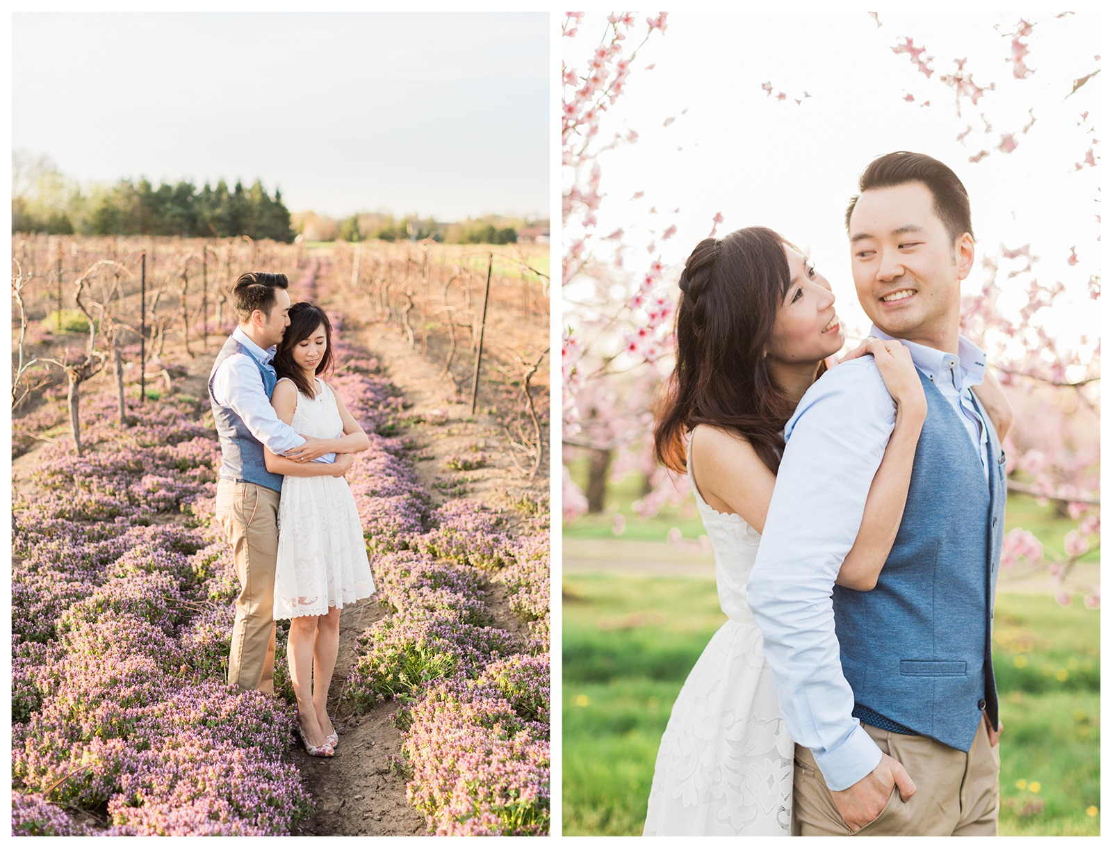 Niagara Romantic Spring Blossom Engagement Photos: Louisa + Jeff