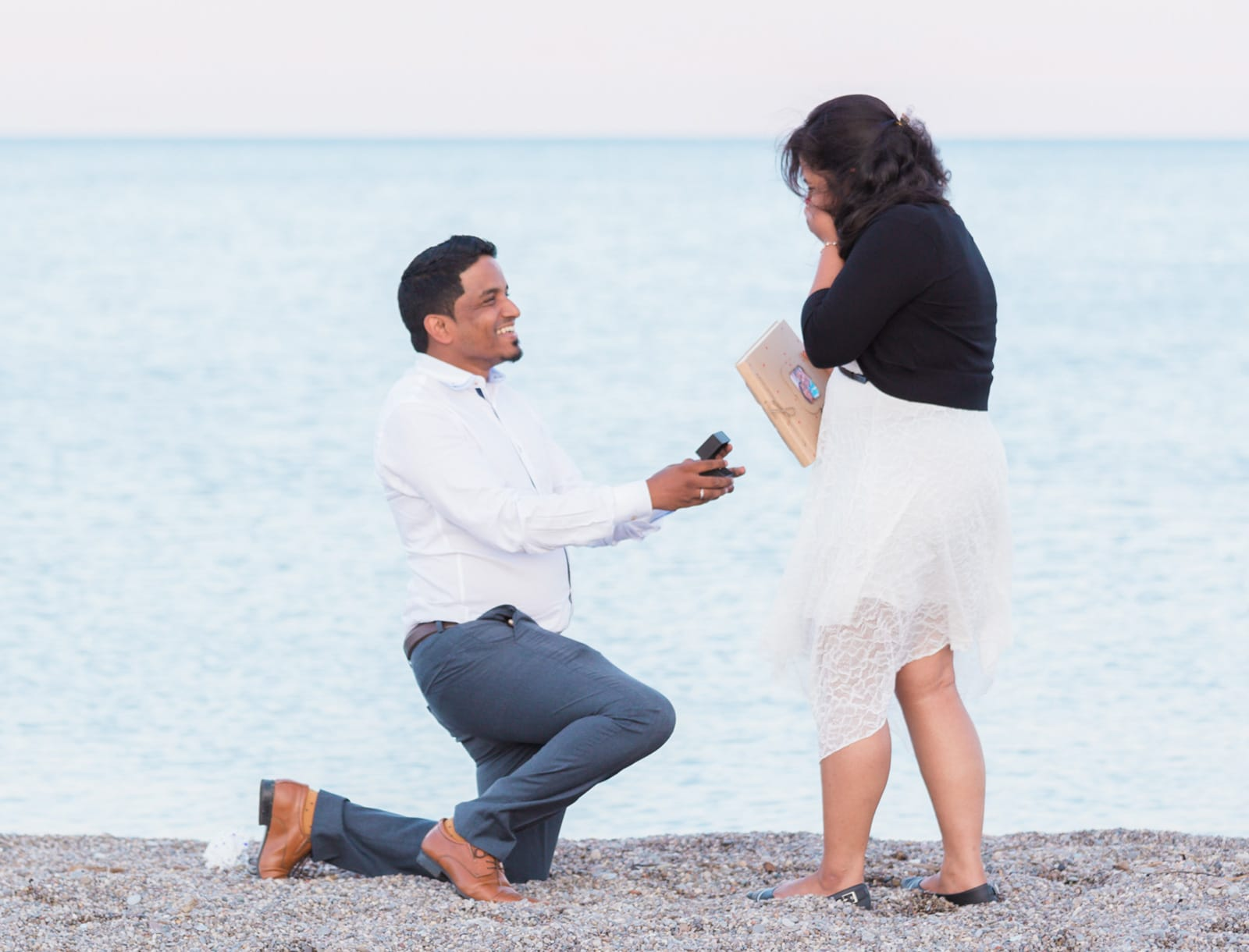 A Romantic Sunset Surprise Proposal at the Beach: Ramiya + Kumaran