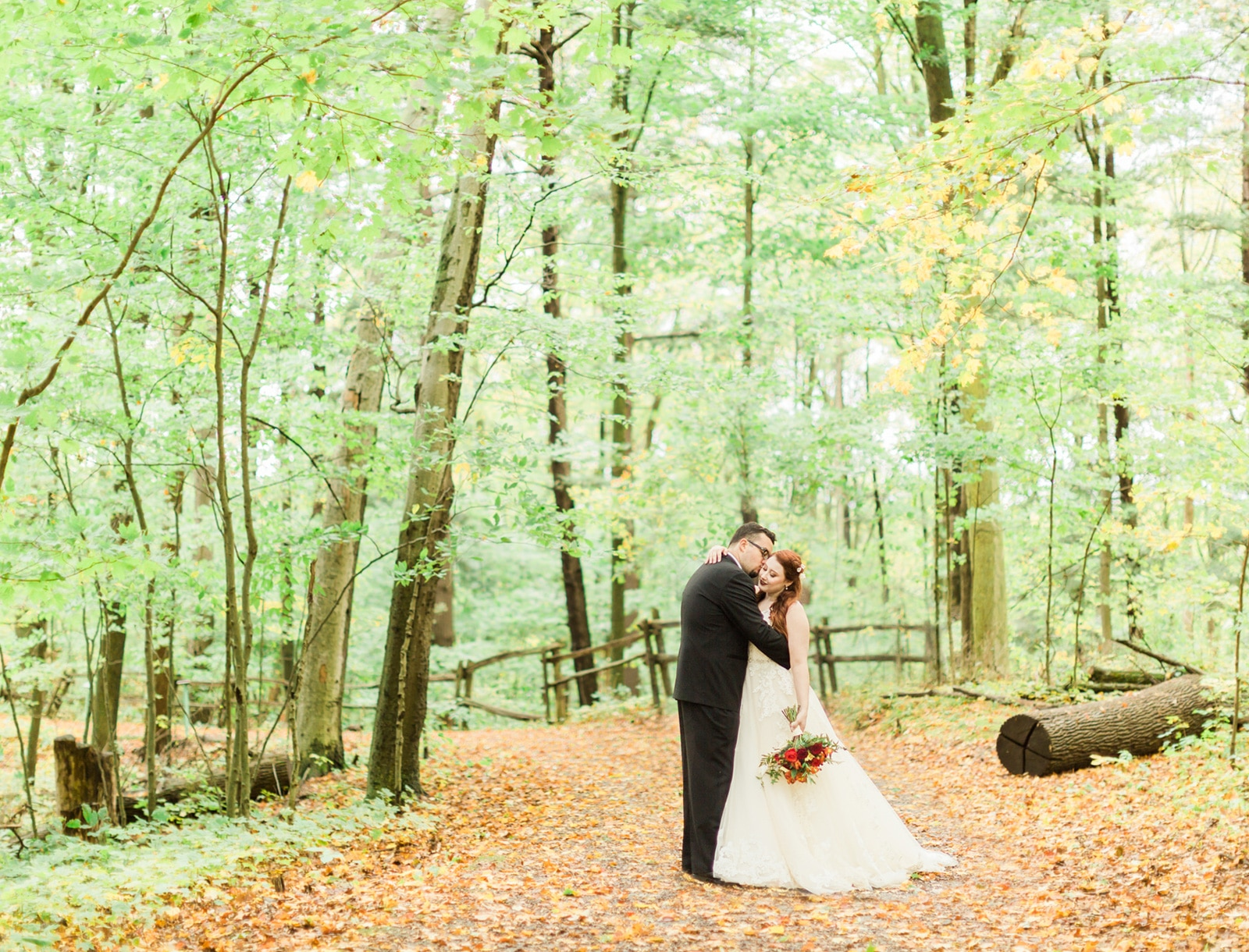 Romantic Outdoor Fall Wedding: Rustic Romantic Forest Autumn