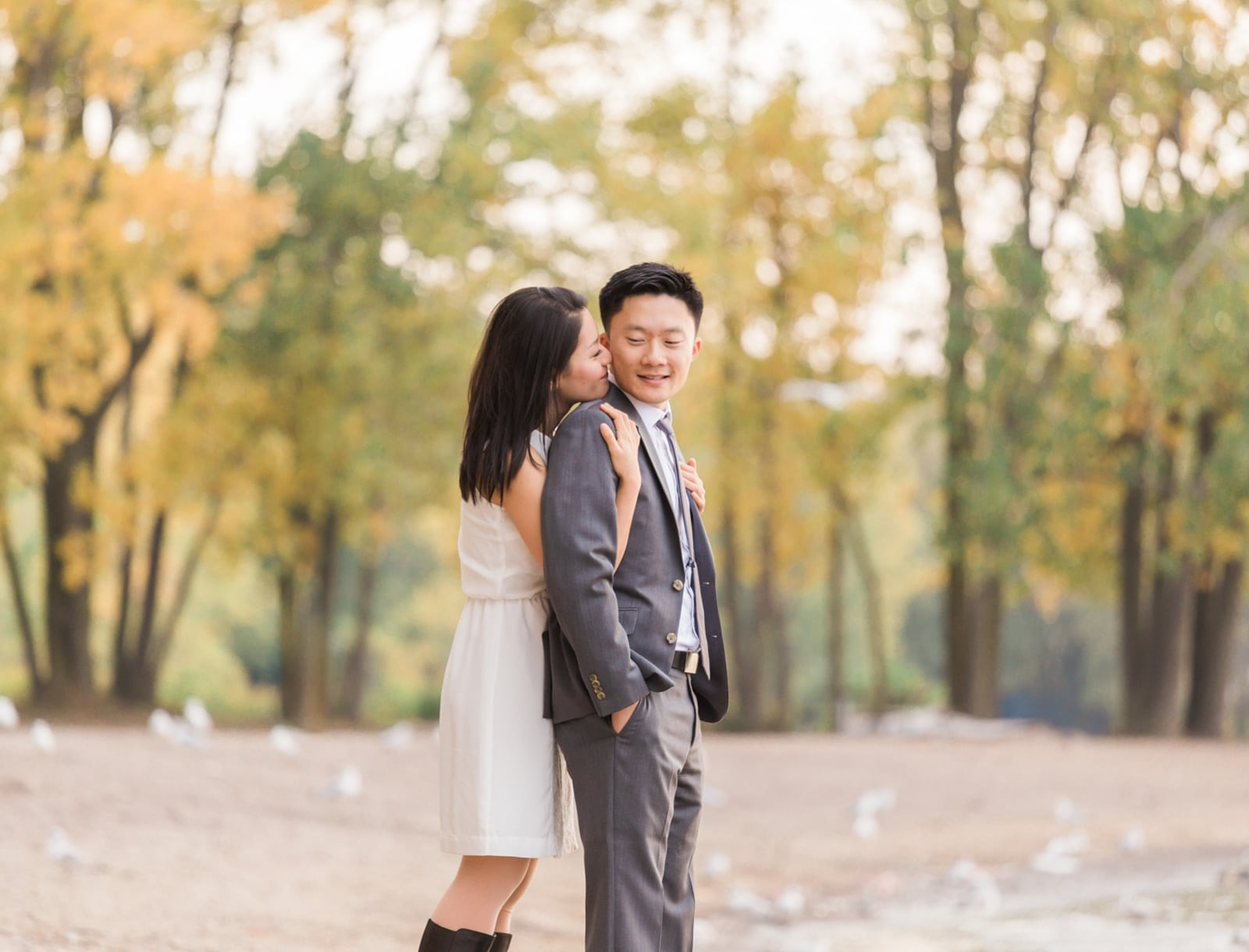Pretty Beach Engagement Photos with Fall Colours: Amy + Byron