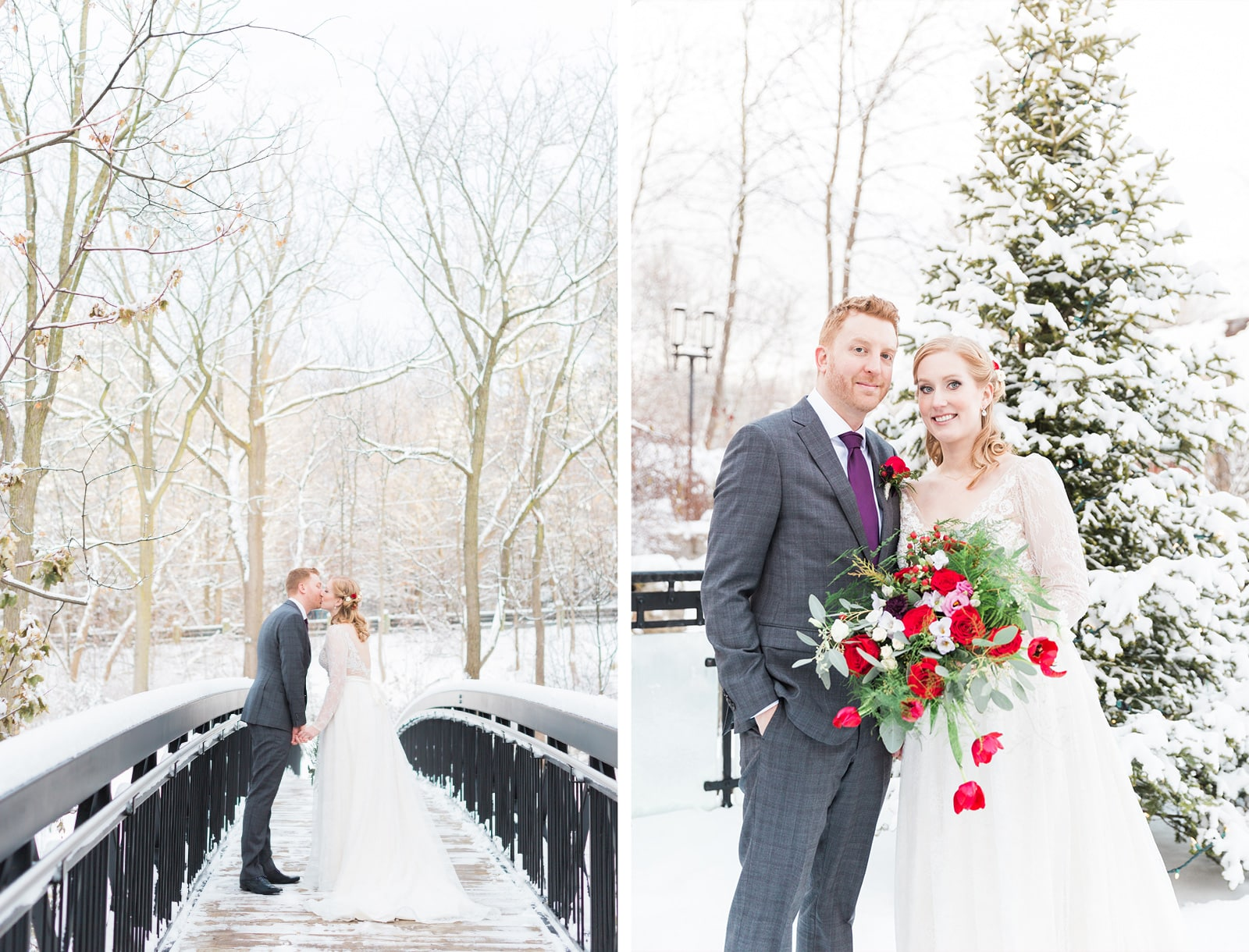 Ancaster Mill Winter Wedding Photos | Intimate White Snow