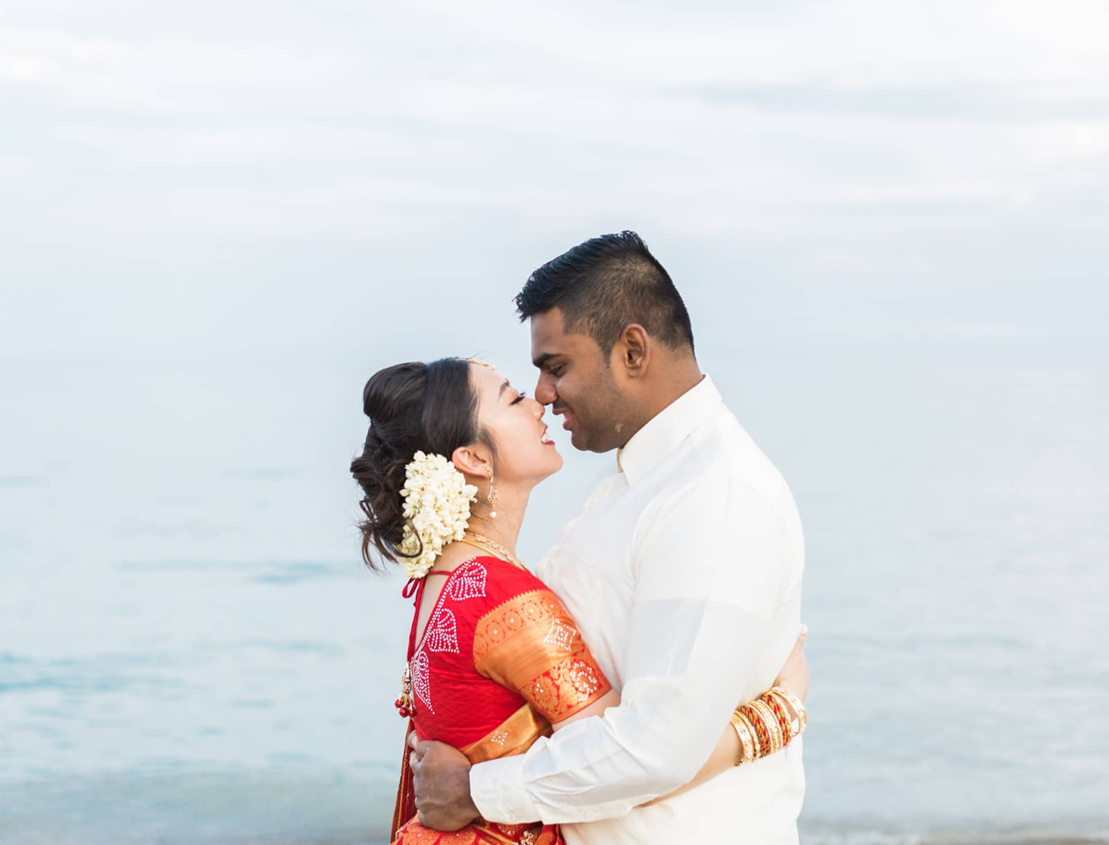 Romantic Hindu Wedding Session at Scarborough Bluffs Beach: Julie + Ranjith