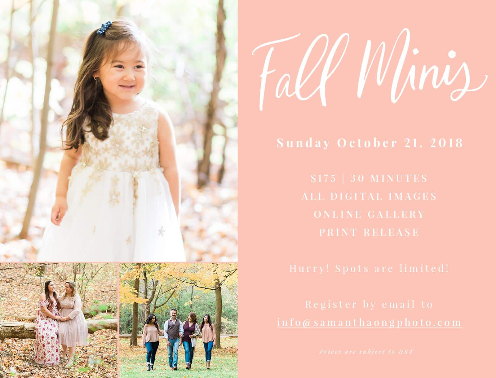 Now Announcing: Toronto Fall Mini Photo Sessions 2018