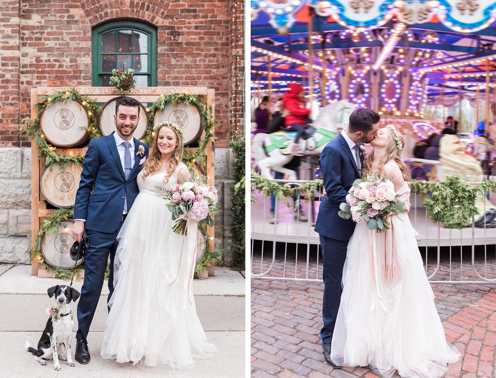Toronto Christmas Market Wedding at Distillery District: Erin + Alex