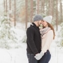 Wintery Forest Engagement Photos in Toronto